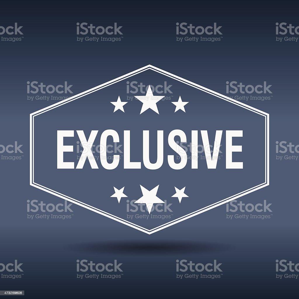 exclusive hexagonal white vintage retro style label vector art illustration