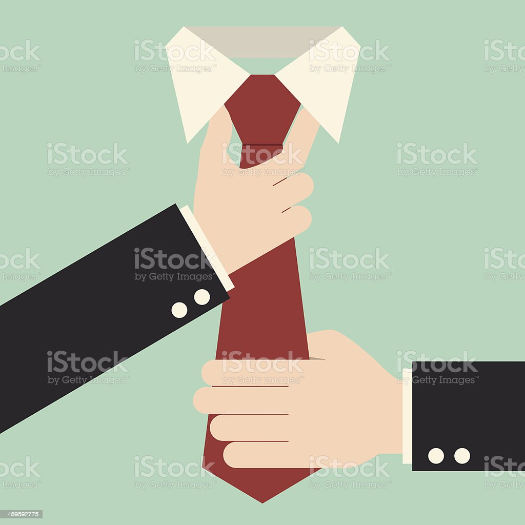 Executive adjusting red tie vector art illustration