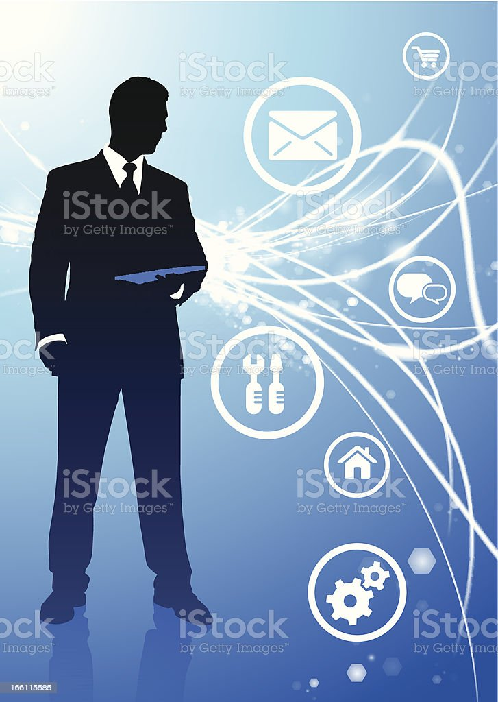 Executive on Fiber Optic Background with Internet Icons royalty-free stock vector art