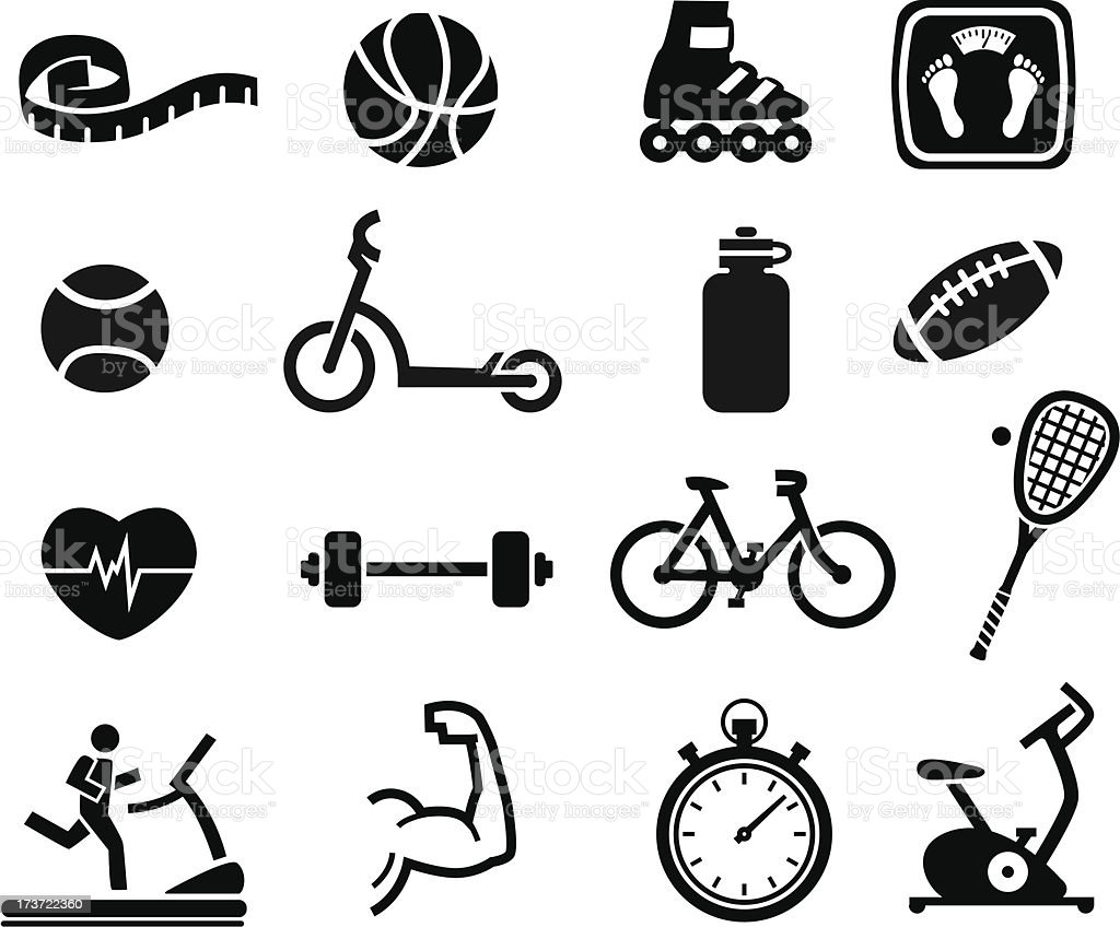 Exercise and Fitness Icons royalty-free stock vector art