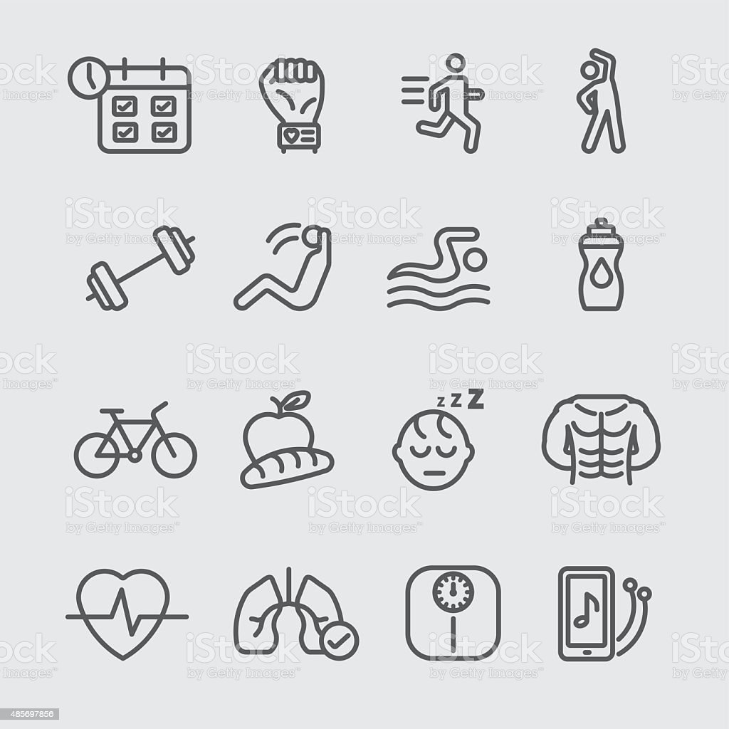 Exercise and healthy line icon vector art illustration