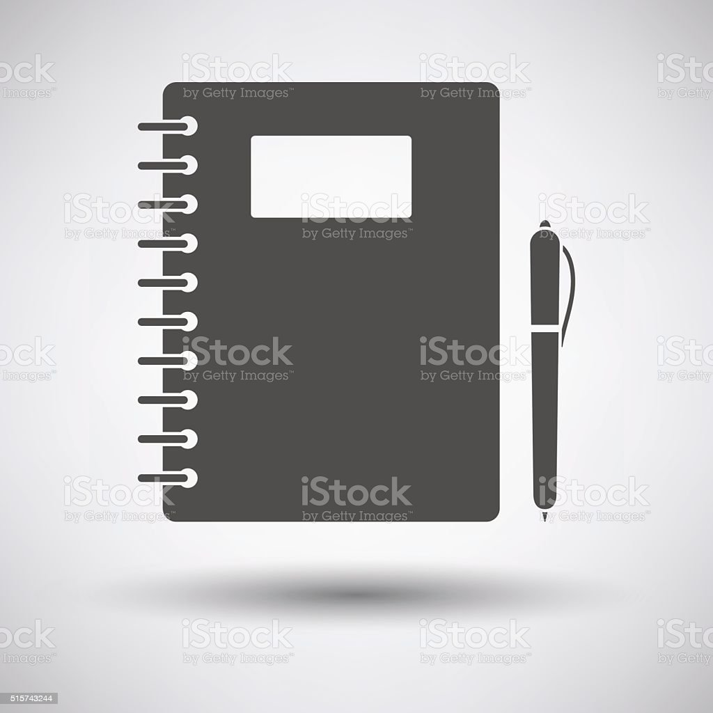Exercise book with pen icon vector art illustration