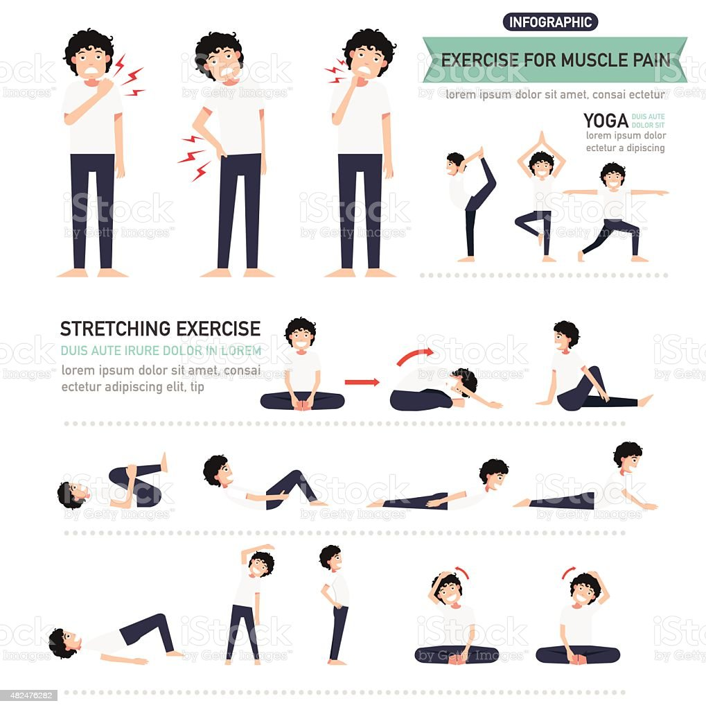 exercise for muscle pain infographic vector art illustration