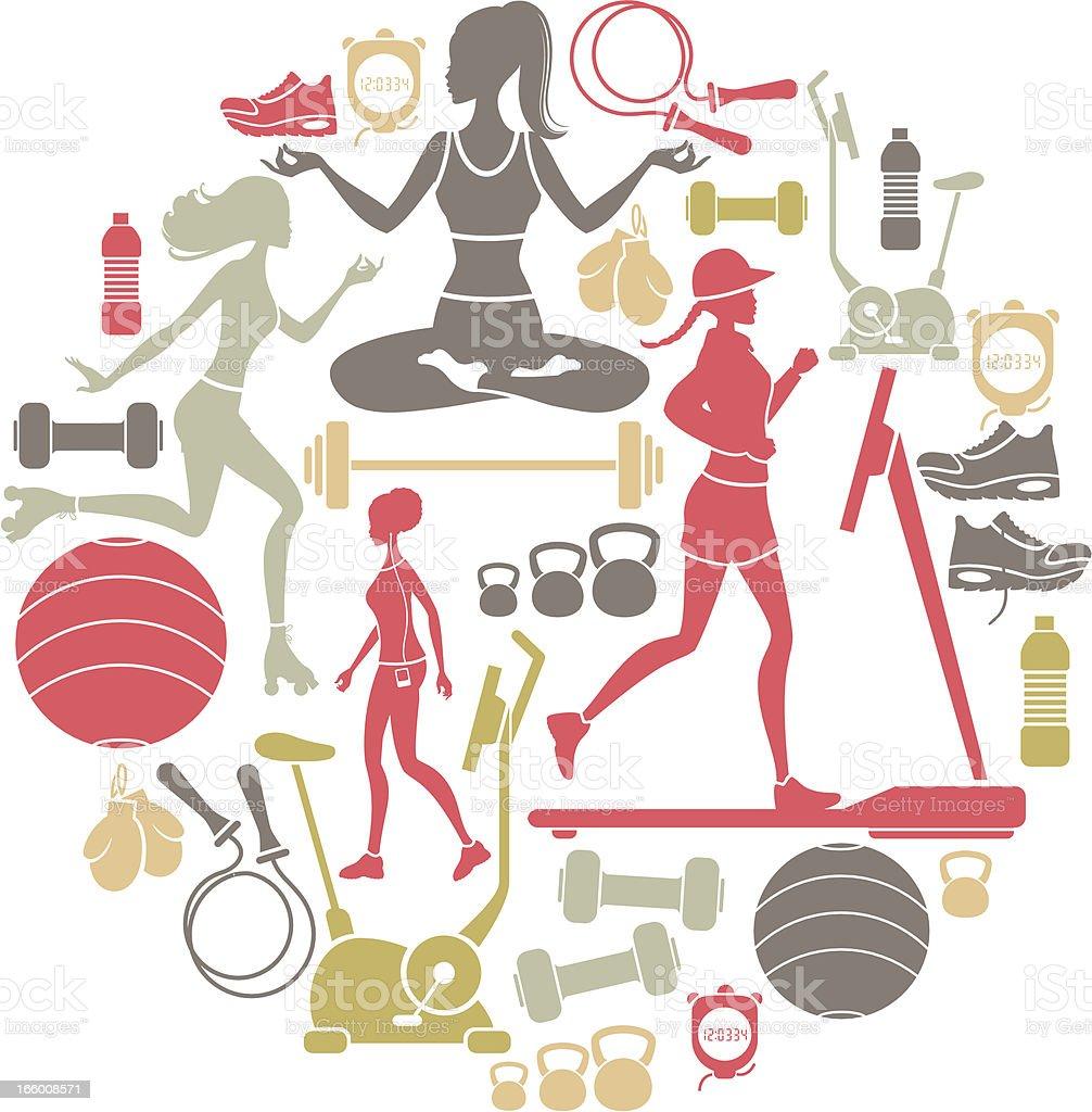 Exercise Icon Set vector art illustration