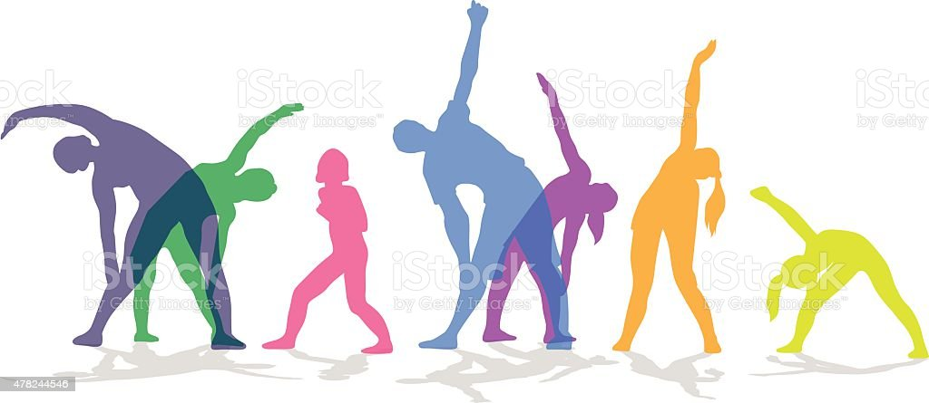 Exercise In Group Colored vector art illustration