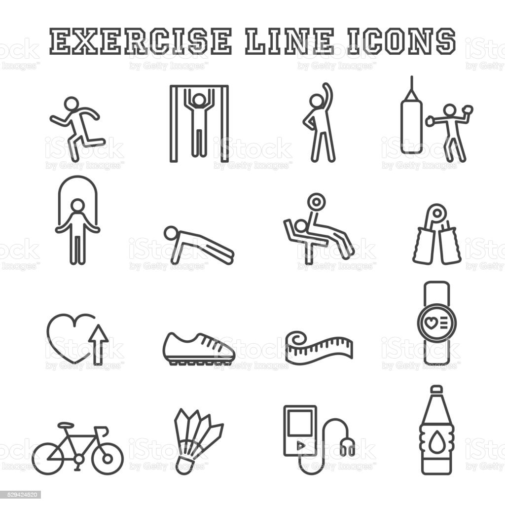 exercise line icons vector art illustration