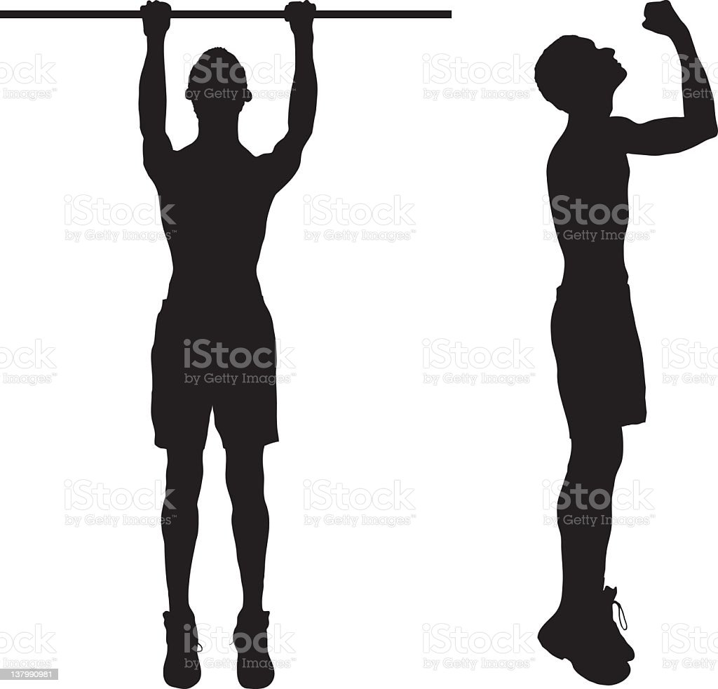 Exercise: Man Doing Pull-ups royalty-free stock vector art