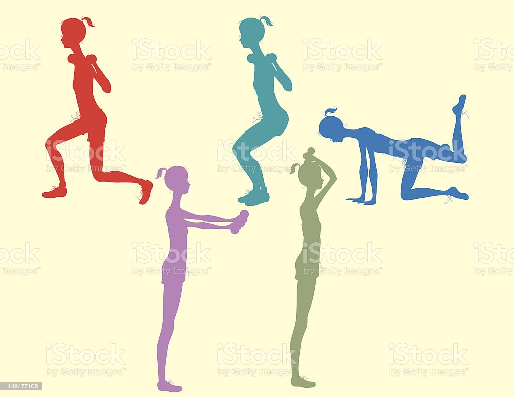 Exercise with Weights royalty-free stock vector art