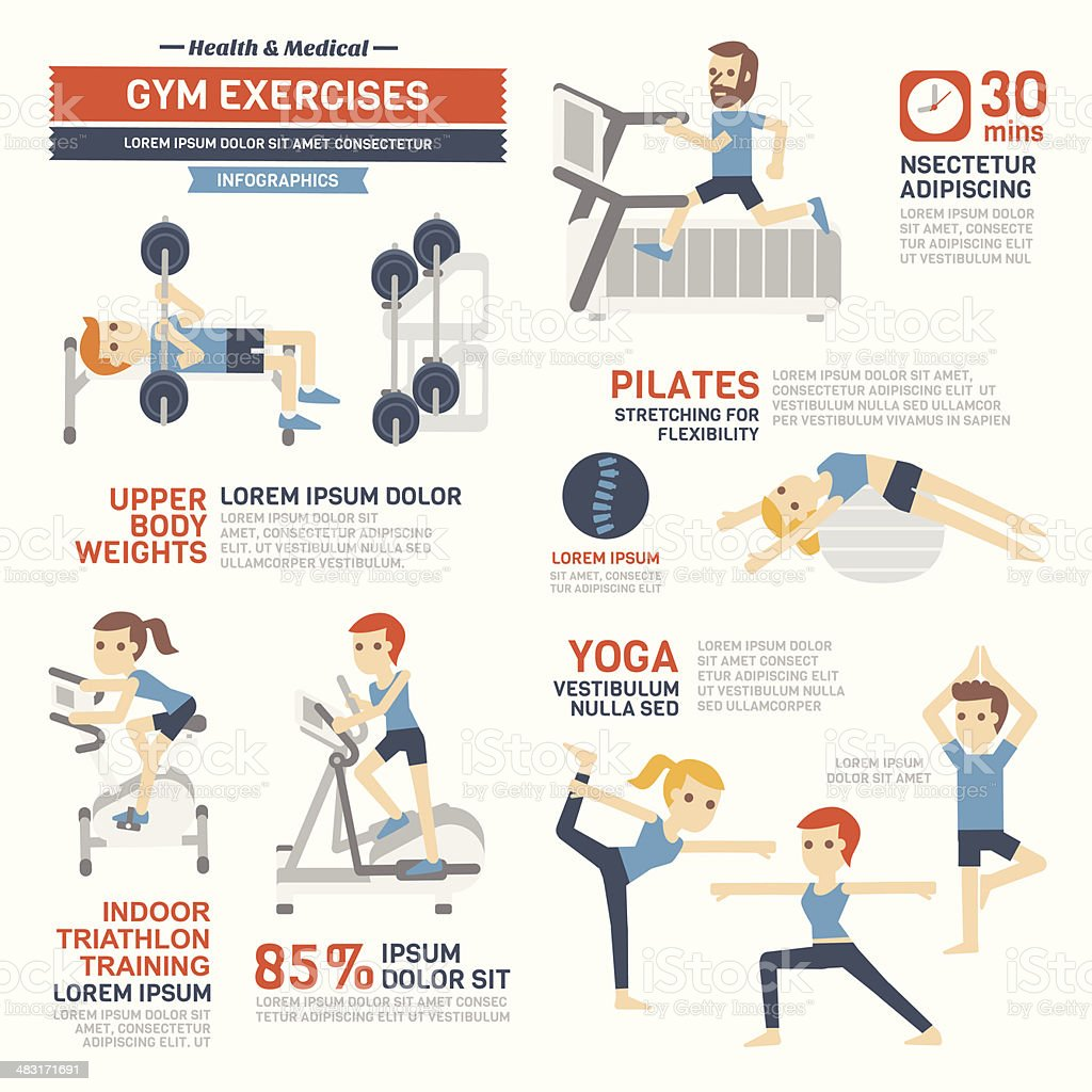 GYM Exercises Infographics vector art illustration