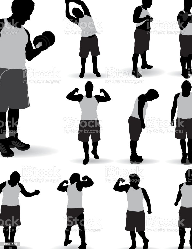 Exercises silhouette royalty-free stock vector art