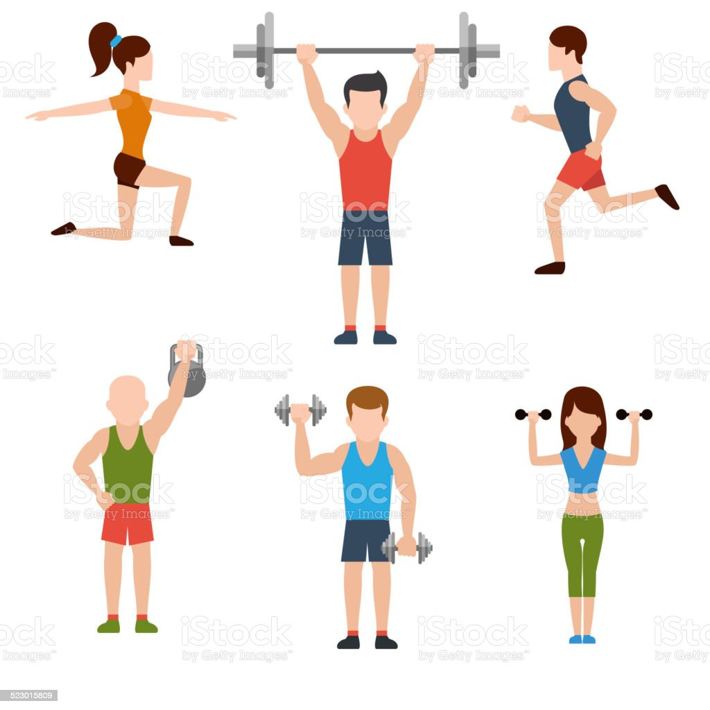Exercises with weights and warm-up icons vector art illustration
