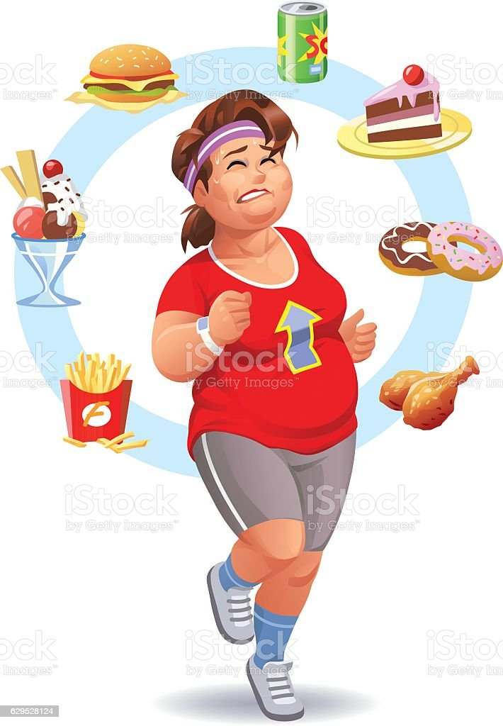 Exercising, Diet And Self-Control vector art illustration
