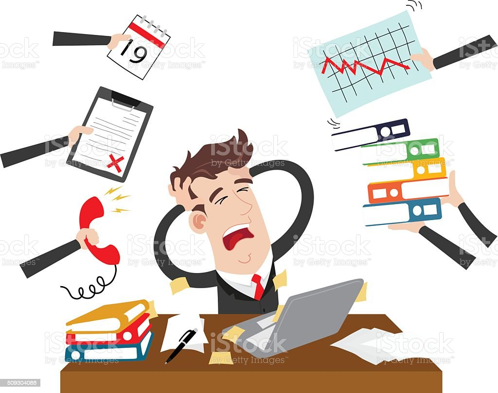Exhausted and stressed businessman vector art illustration