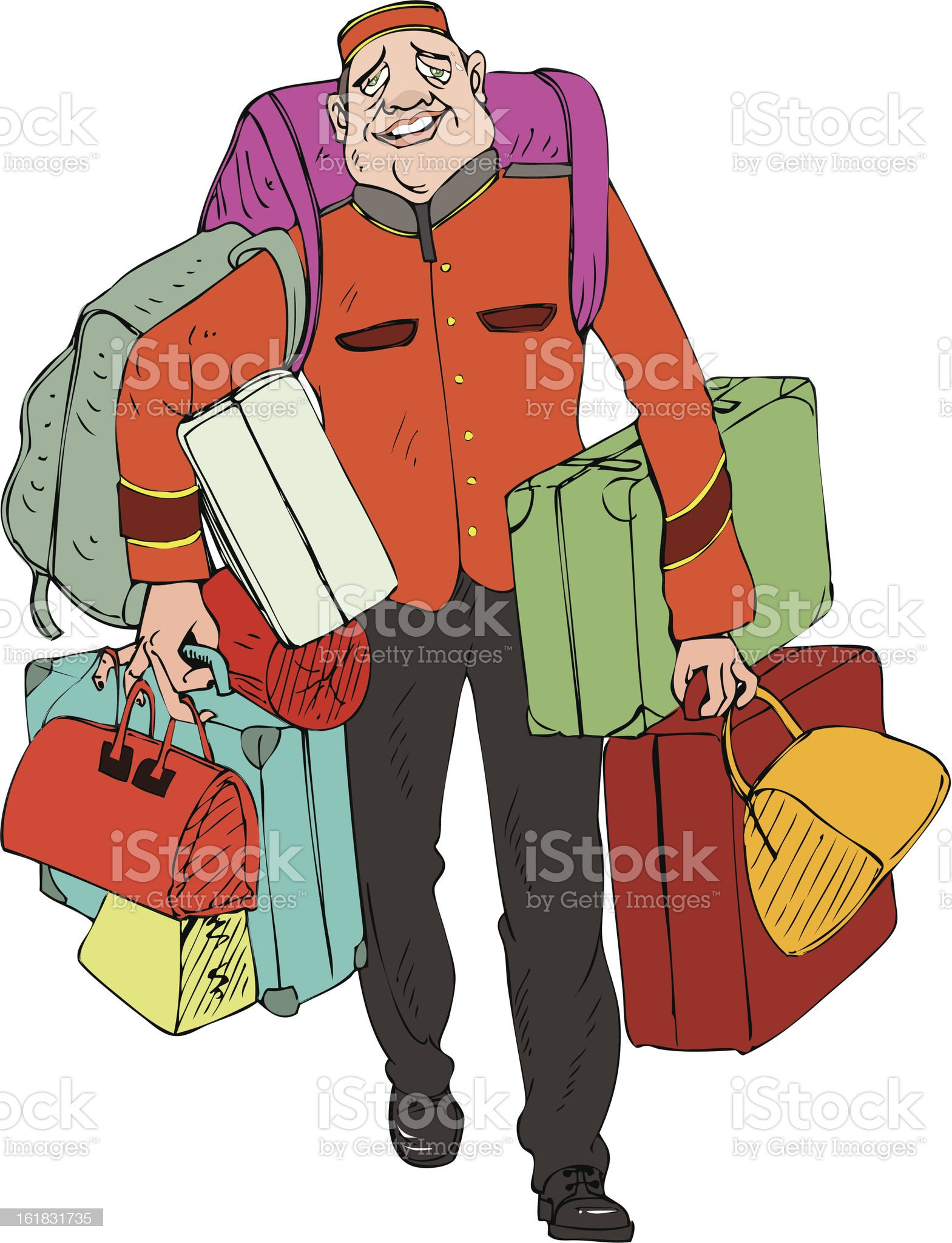 exhausted bellboy royalty-free stock vector art