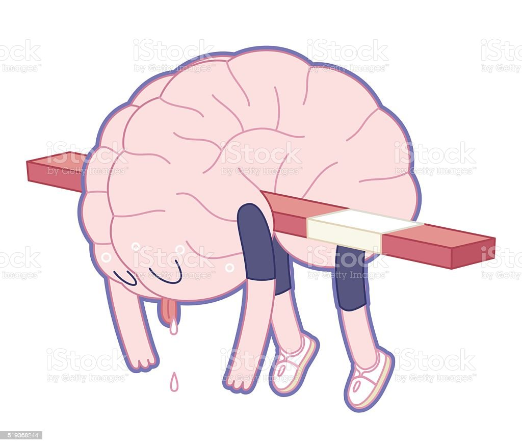 Exhausted, Brain collection vector art illustration