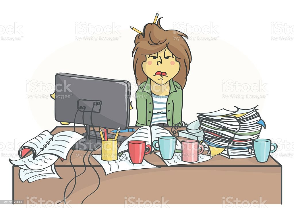 Exhausted business woman or a clerk sitting at office table vector art illustration