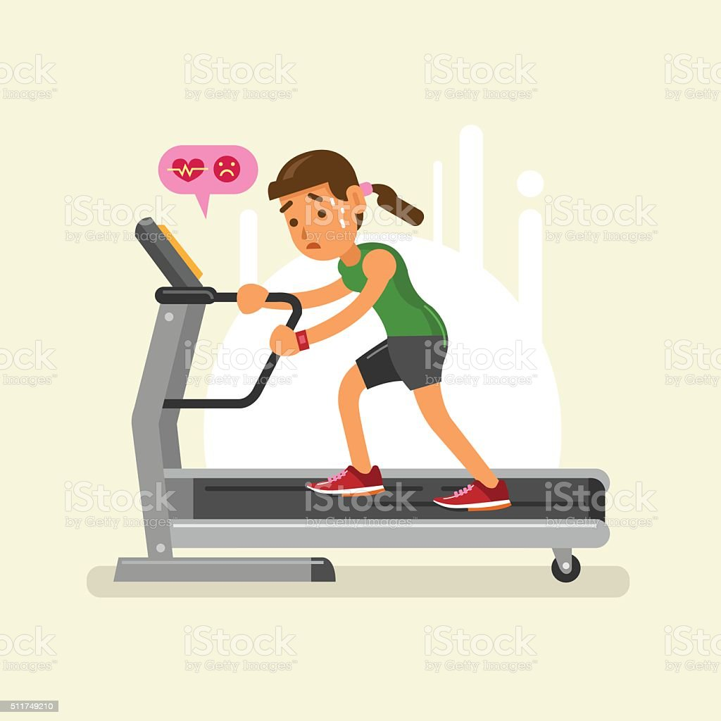 exhausted woman on a treadmill. vector illustration vector art illustration
