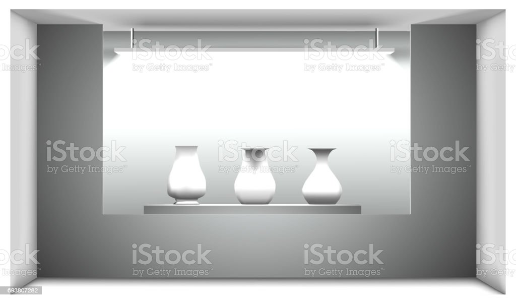 Exhibition hall, a stand with ancient amphorae lit by a lamp. Vector illustration. 3d interior. vector art illustration