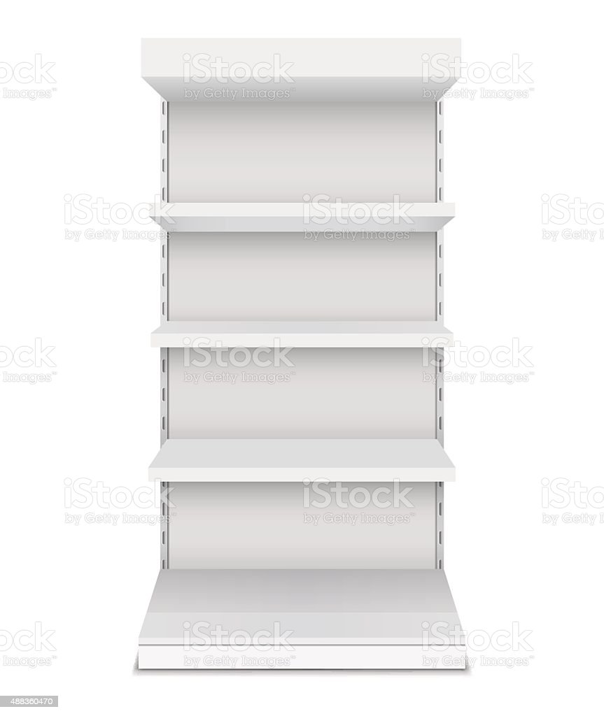 Exhibition stand shelves isolated on white background vector art illustration