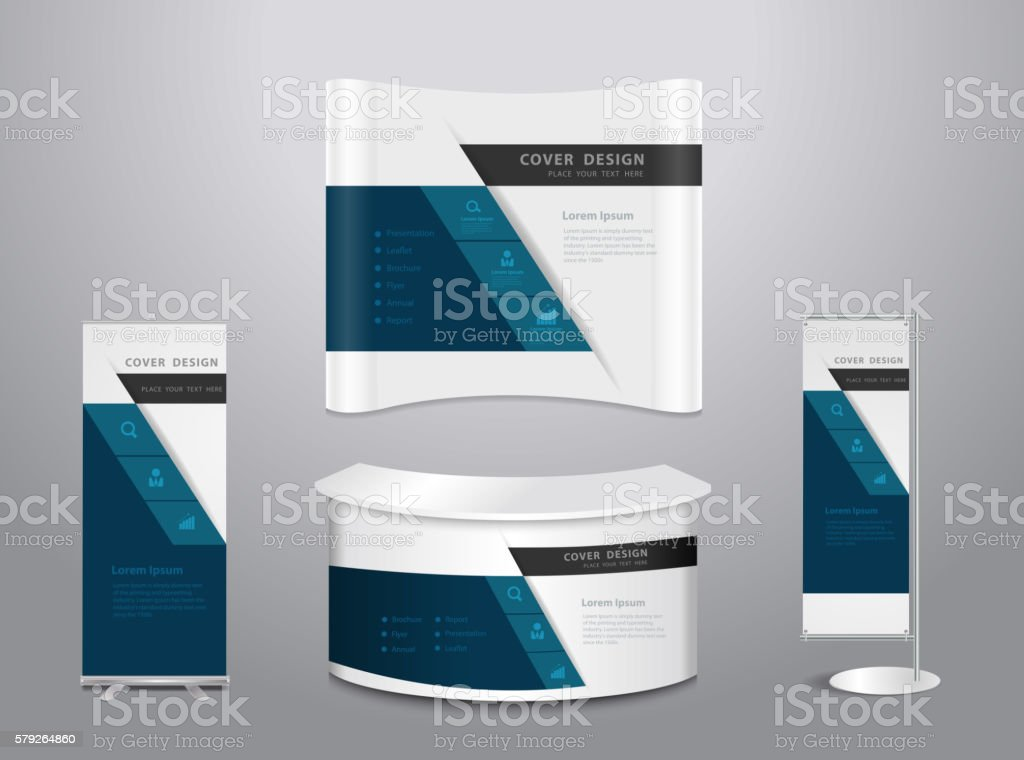 Exhibition stands with cover presentation vector art illustration