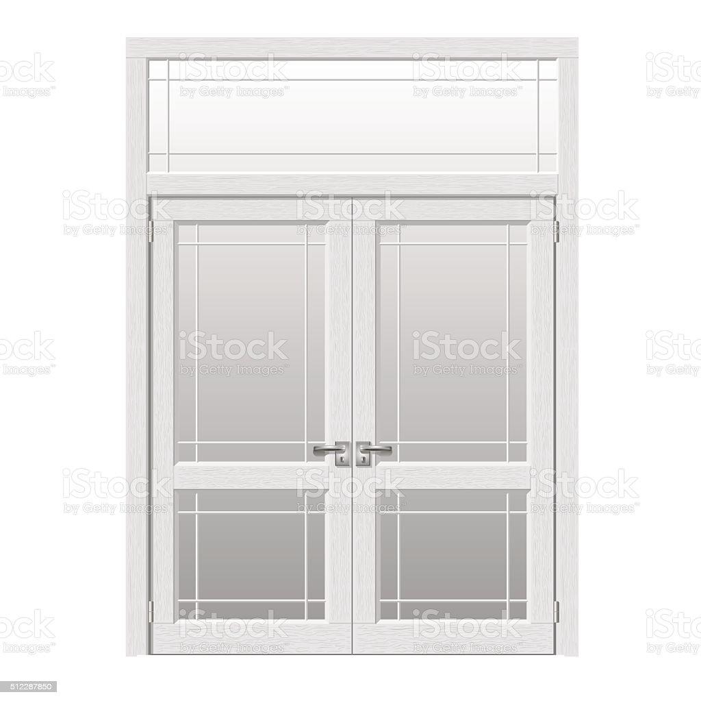 Exit door to the terrace vector art illustration