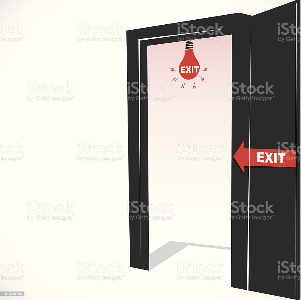 exit door vector art illustration