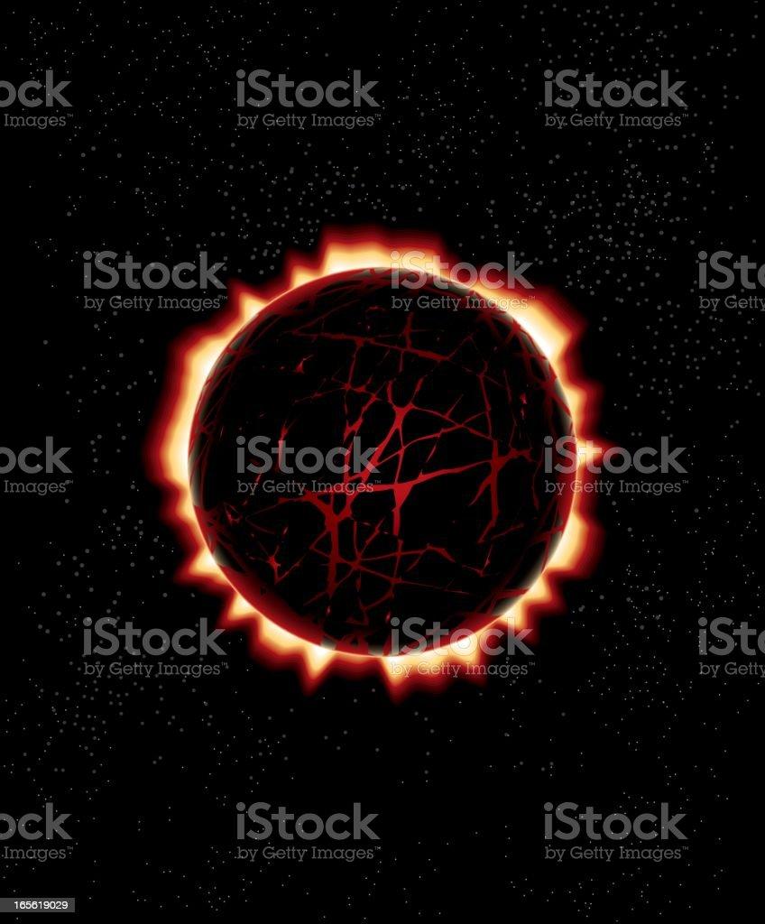 Exlpoding Planet vector art illustration