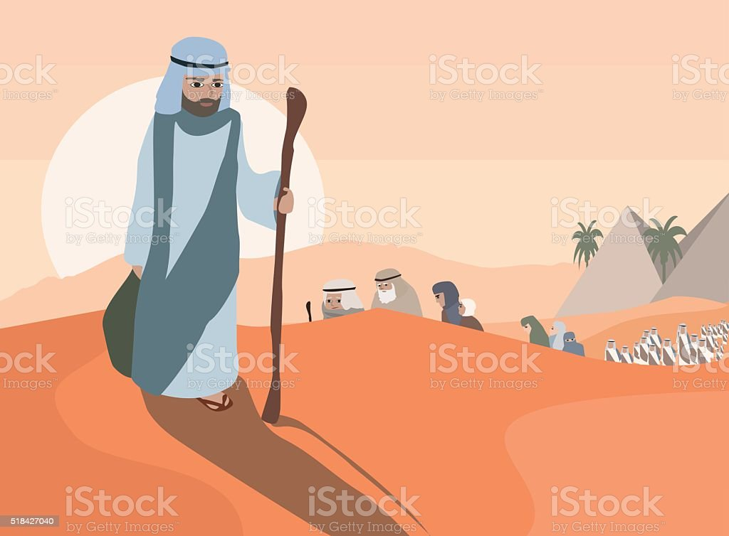 Exodus from Egypt vector art illustration