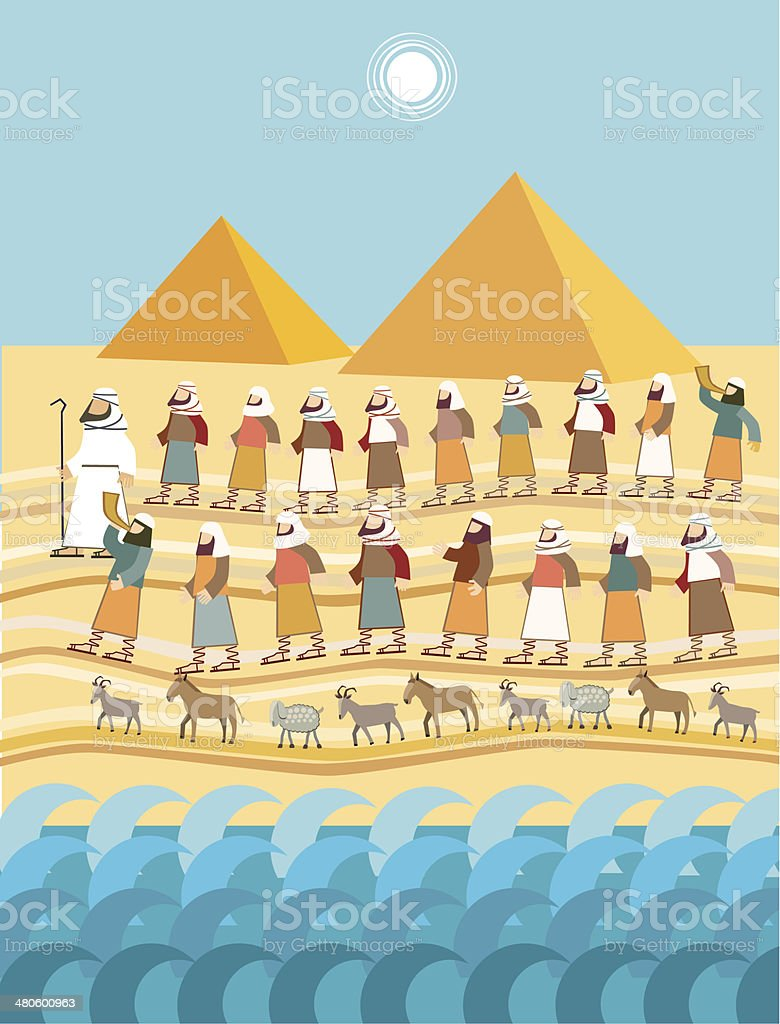 Exodus, Passover vector art illustration