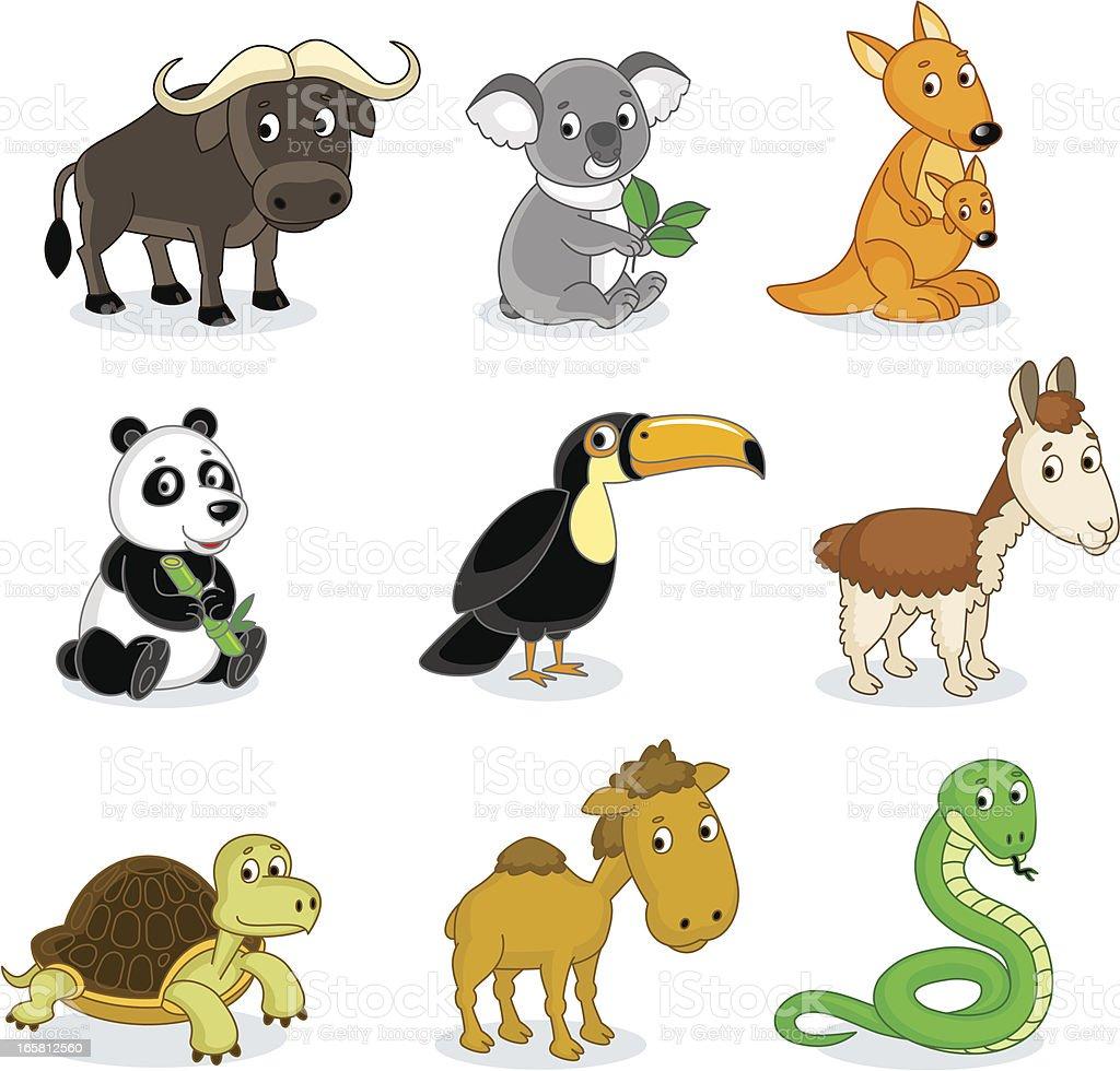 Exotic animals vector art illustration