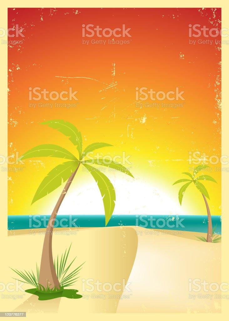Exotic Beach Grunge Postcard royalty-free stock vector art