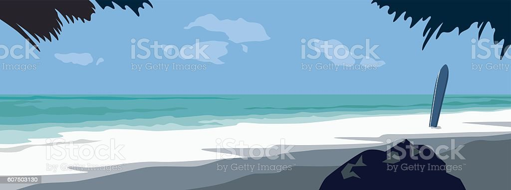 Exotic Beach vector art illustration