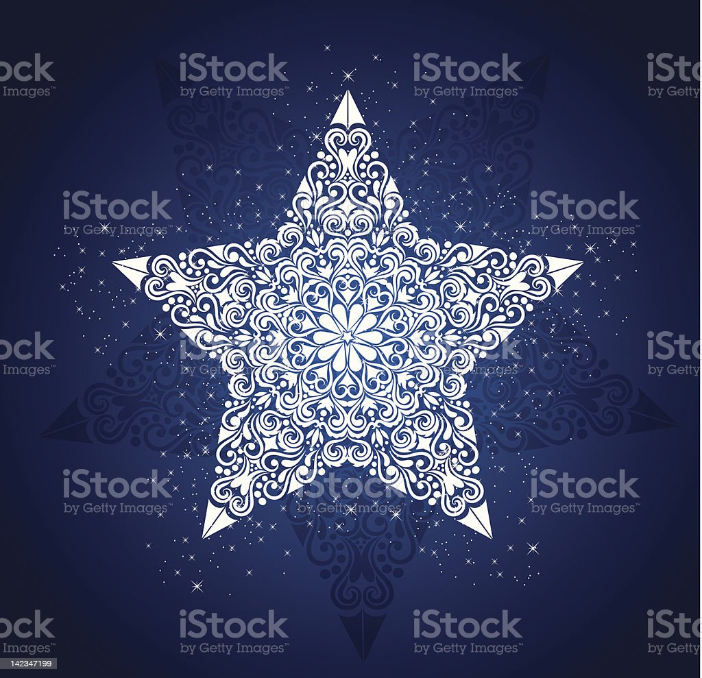 Exotic blue and white pattern on a five-pointed star royalty-free stock vector art