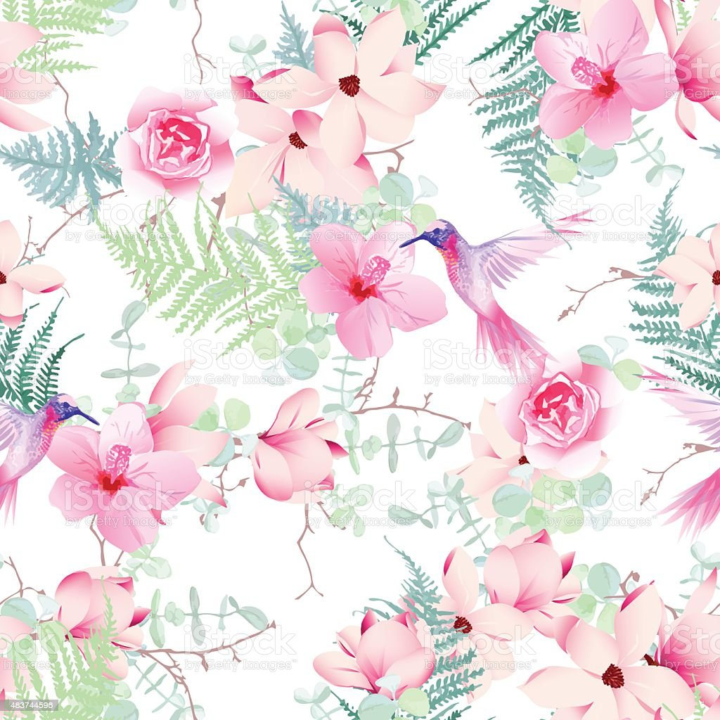 Exotic flowers with hummingbirds seamless vector print vector art illustration