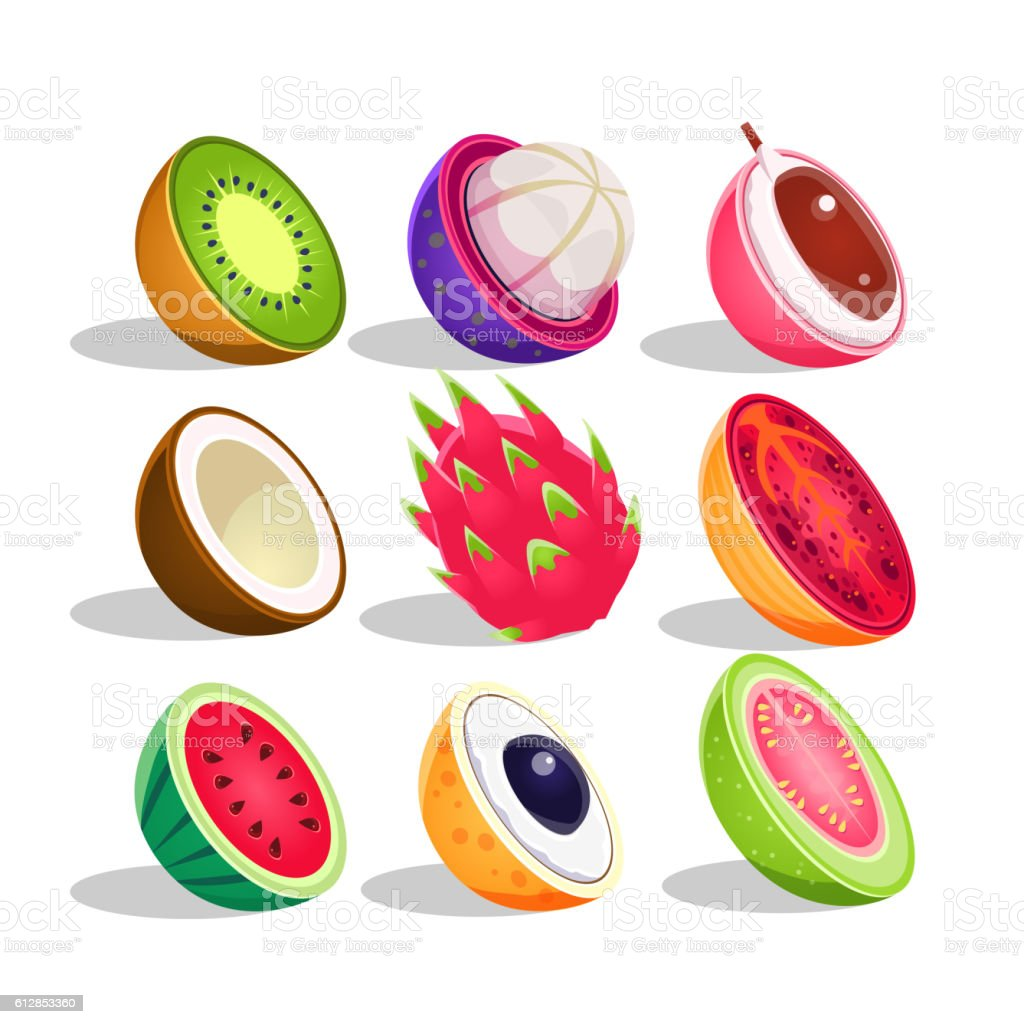 Exotic Fruits Sliced In Half Set Of Bright Icons vector art illustration