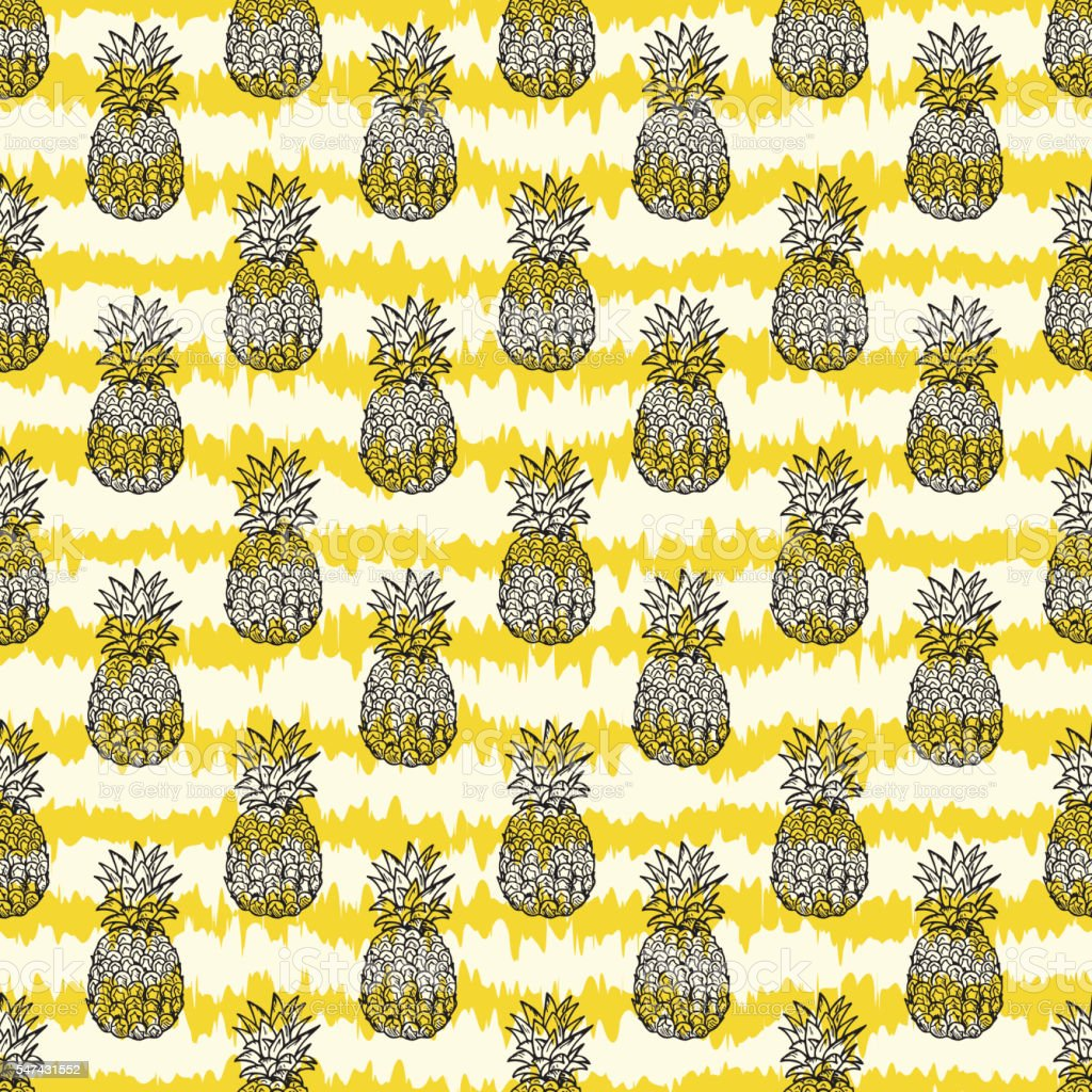 Exotic fruits wallpaper. Hand Drawn doodle Pineapple seamless pattern vector art illustration