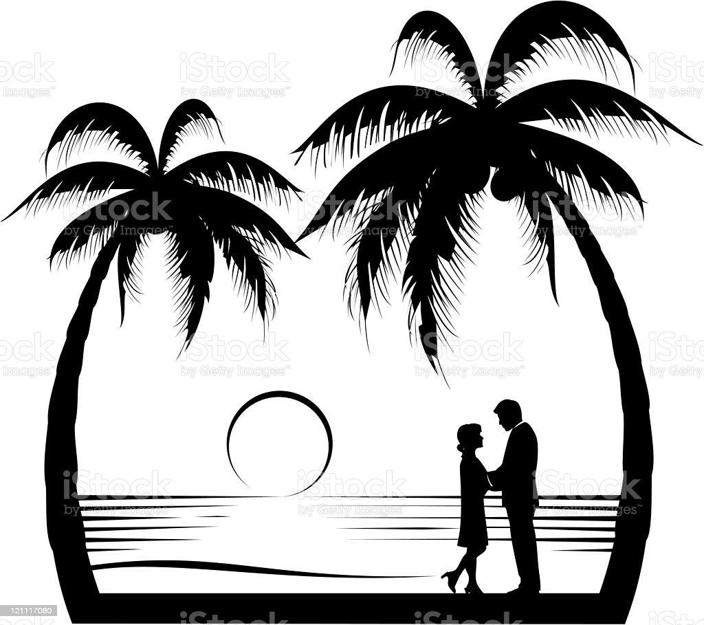 Exotic Lovers Silhouette vector art illustration