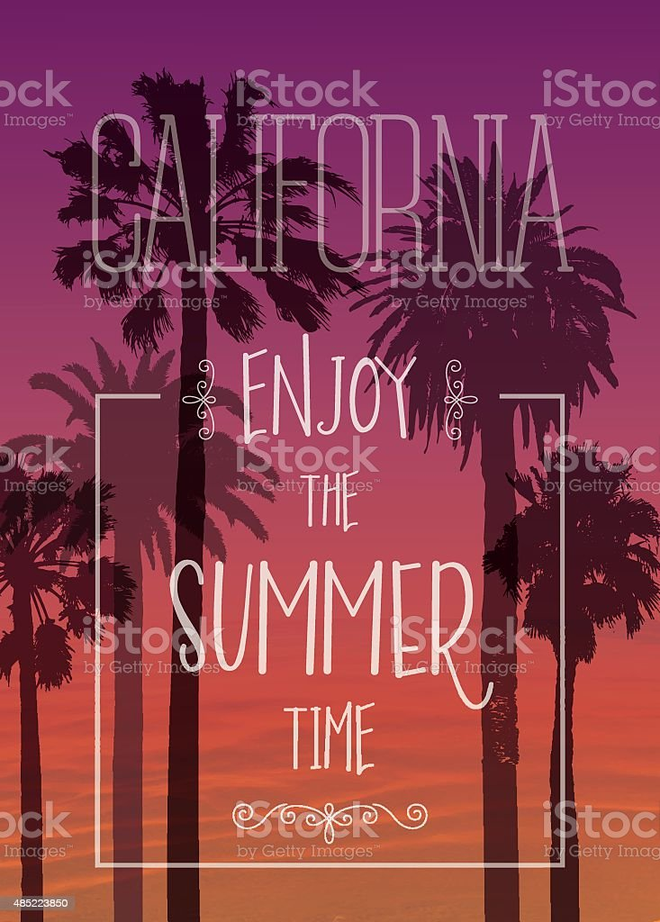 Exotic Print with Palms for T-shirt. Travel Background . Vacation Banner. vector art illustration