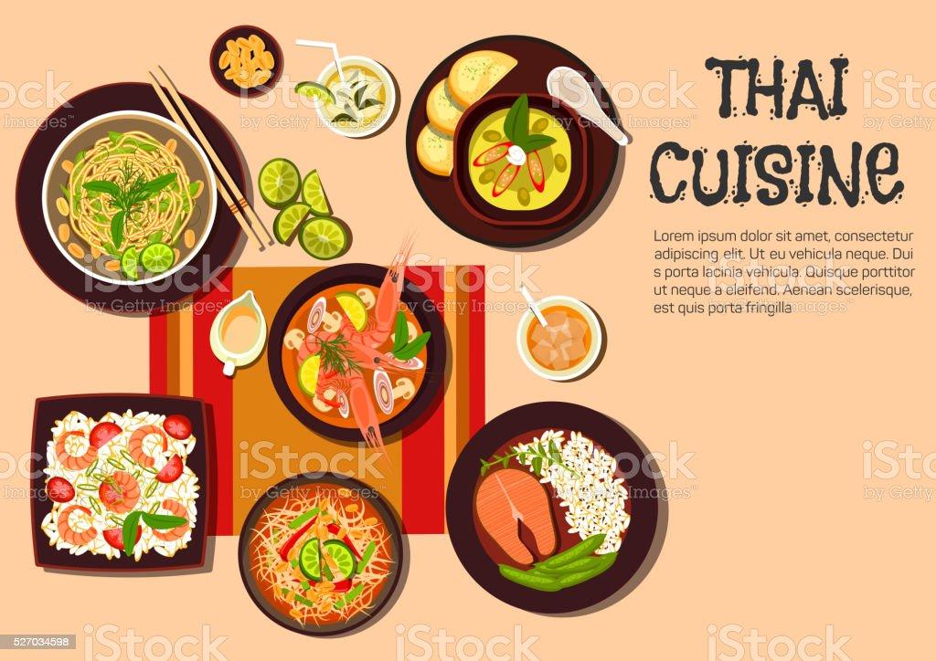 Exotic thai cuisine popular dishes flat icon vector art illustration