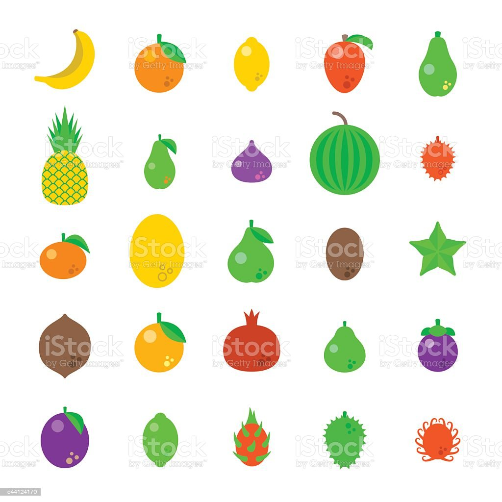Exotic tropical fresh fruits flat style vector icons set vector art illustration