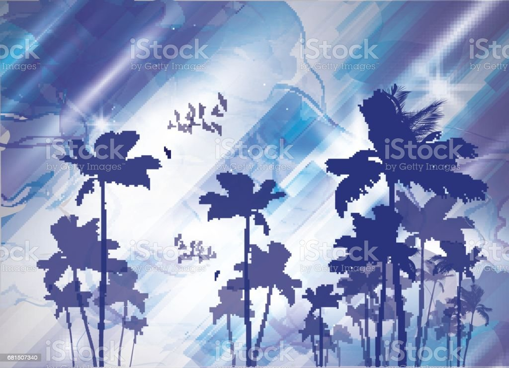 Exotic tropical palm trees  at sunset or sunrise vector art illustration
