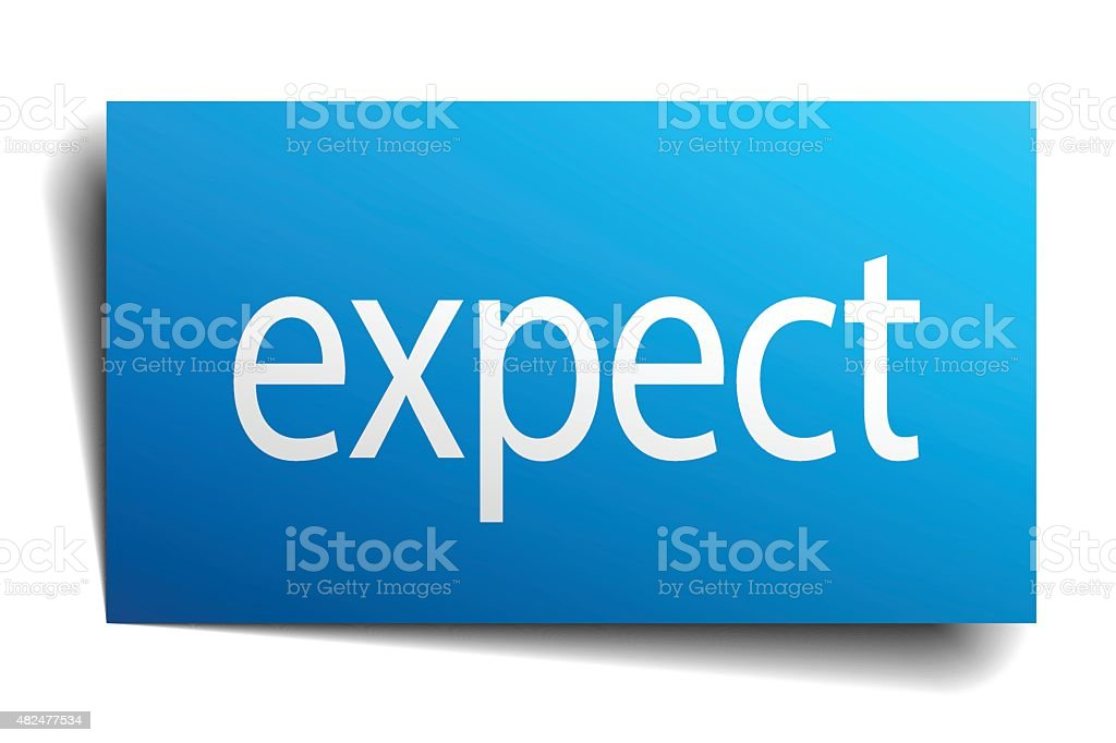 expect blue paper sign on white background vector art illustration
