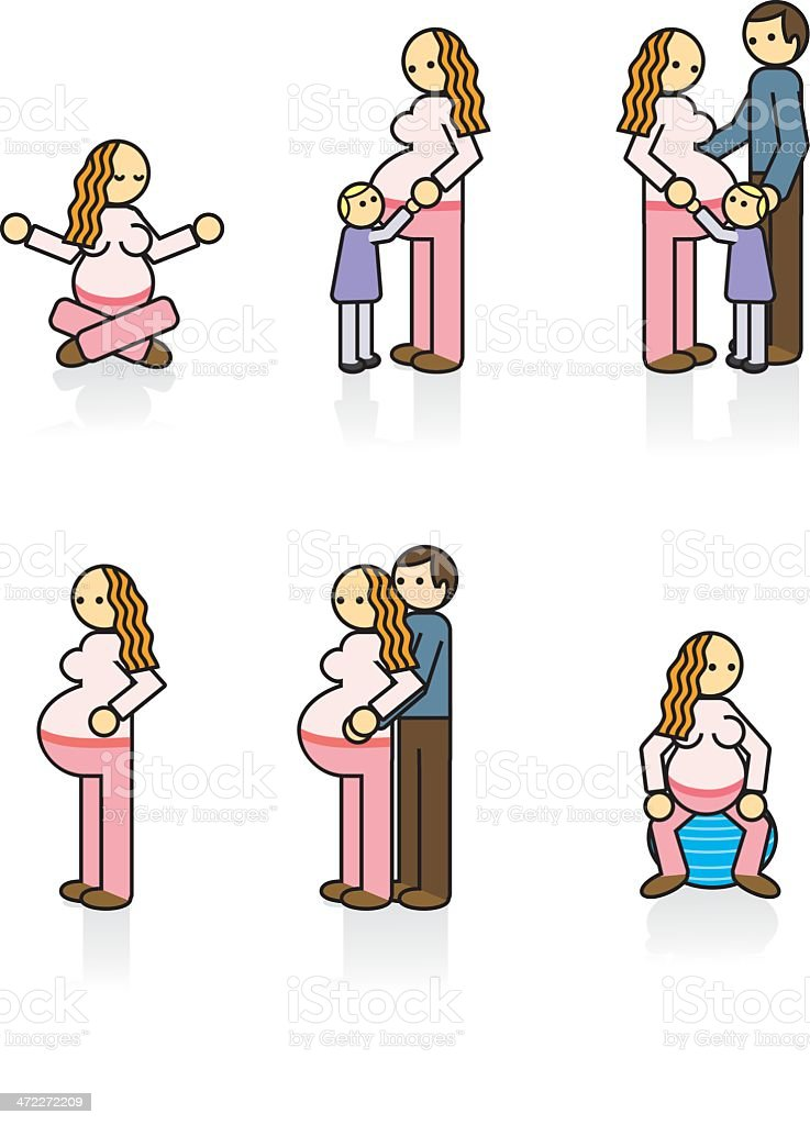 Expectant Family Icons vector art illustration