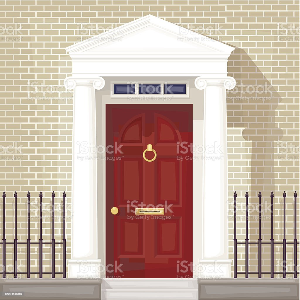 Front door clipart - Expensive House With A Red Front Door Royalty Free Stock Vector Art