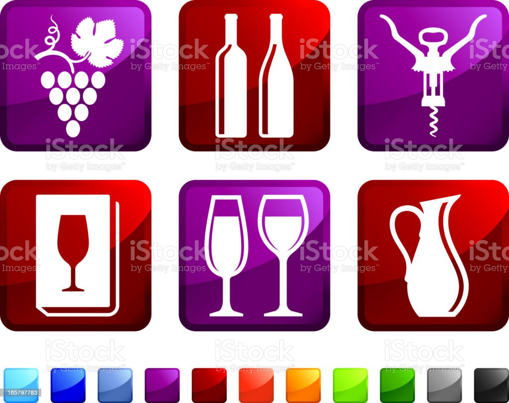 Expensive Wine royalty free vector icon set stickers vector art illustration