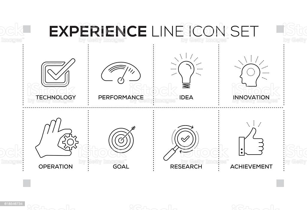 Experience keywords with monochrome line icons vector art illustration