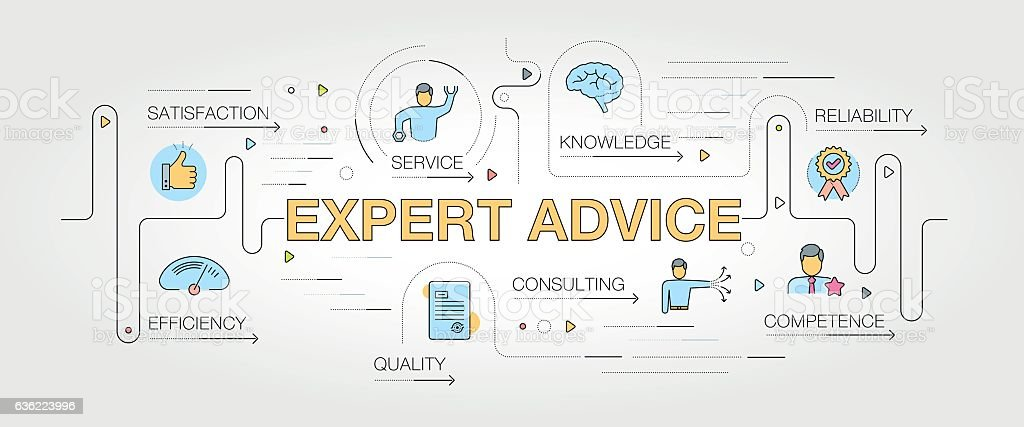 Expert Advice banner and icons vector art illustration