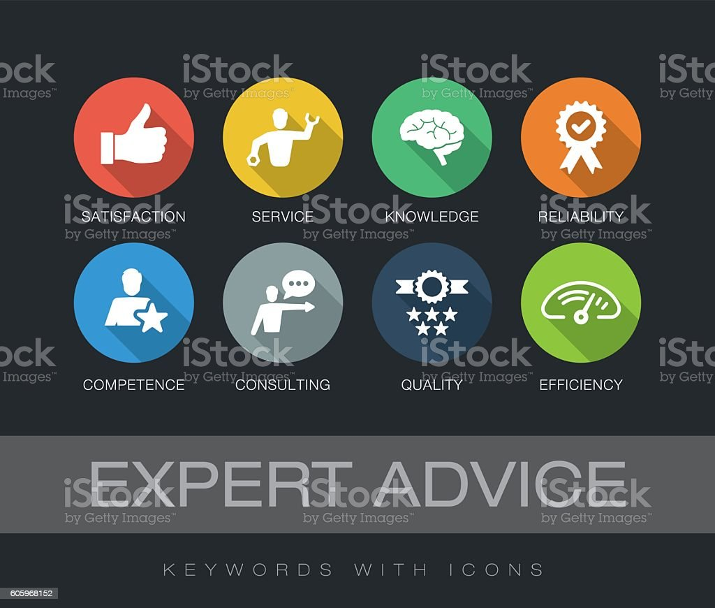 Expert Advice keywords with icons vector art illustration