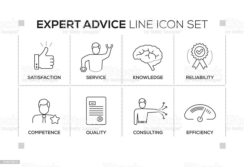 Expert Advice keywords with monochrome line icons vector art illustration