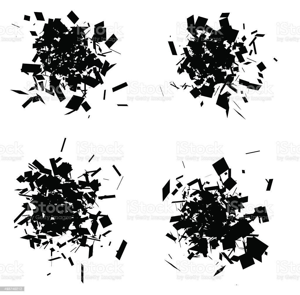 exploded icon black silhouette collection over white vector art illustration